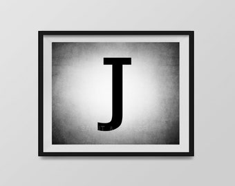 Letter J in 4 color choices, Monogramed Photo Print or Canvas kids Wall art