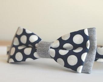 Bow Tie Vintage Blue Navy White Dot children 6 months-6 years