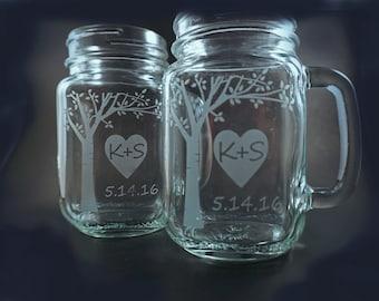 Mugs personnalisés Mason Jar avec chérie Blooming arbre – mères – parfait cadeau pour la mariée et le marié! Bocaux Mason – Mason Mug