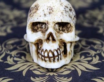 Antique Stuart Era Jacobean (c. 1603-1625) James I Carved Bone Human Skull Memento Mori Vanitas RARE