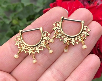 Bali Boho Fan Gold Nipple Ring Nipple Piercing