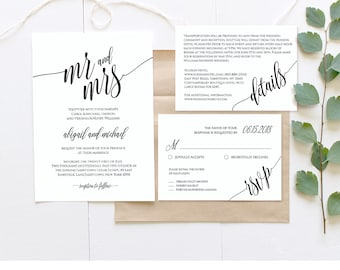 Wedding Invitation Template, Instant Download, Rustic Modern Wedding Invite Set, RSVP, Info Card, DIY Printable, Editable Template #020A