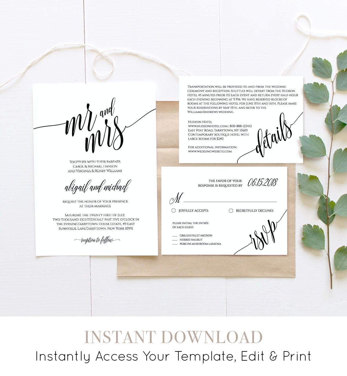 Wedding Invitation Template, Instant Download, Rustic Modern Wedding ...