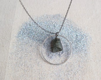 Silver Ring Necklace with Labradorite