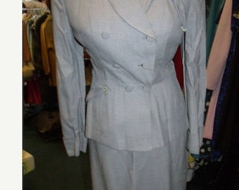 Early 50s Suit | Stunning Heathered Grey 50's New Look Cocktail Suit with Pearl and Asymmetrical Button Details - S
