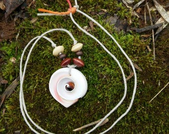 White Hemp Necklace with Wooden beads