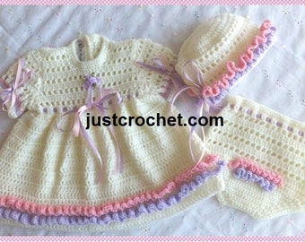 Dress, Knickers and Bonnet Baby Crochet Pattern (DOWNLOAD) 94