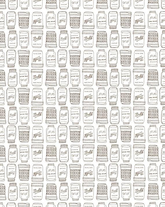 Mason jar pattern print