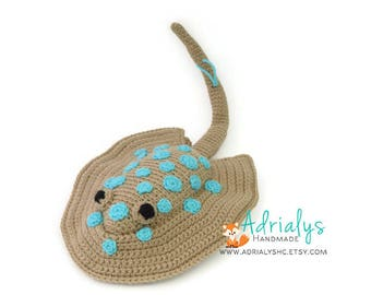 Crochet Stingray- Crochet Animals- Stingray Plush- Crochet Toy- Stuffed Stingray- Handmade Stingray- Crochet Toy- Made to Order