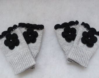 Free Shipping - Grey with Black Flower Fingerless gloves,