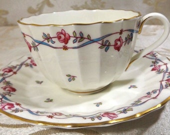 Royal Worcester Minuet Vine of Roses Porcelain Cup & Saucer Set