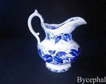 French Antique Creamer / Milk jug / orange juice Pitcher breakfast Creil et Montereau Flora pattern 19th century blue and white faience