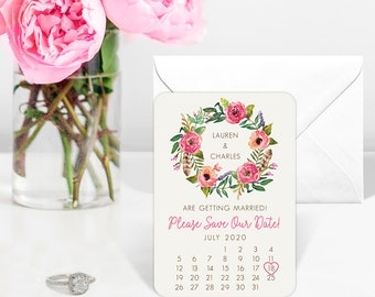 Floral Calendar - Wedding Magnet - Save the Date + Envelopes