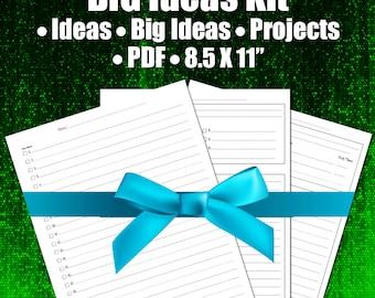 Big Ideas Kit, Printable Planner Worksheets, Business Notebook, Productivity, Marketing, Planning, 8X11, ARC Binder, 3 Ring Binder, DIY