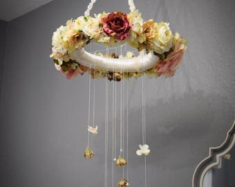 Pink and Ivory Floral Mobile