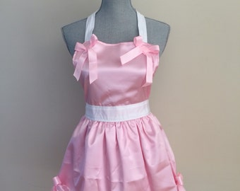 SALE!! Women's Pretty In Pink Princess Apron, Cinderella Inspired Apron, Mommy and Me and Dolly Apron Set