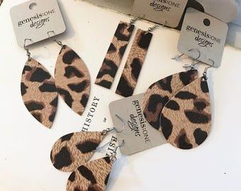 Leather Earrings - Genuine Leather - Leopard - Cheetah - Animal Print - Teardrop - Leaf - Bar - Marquise - Lightweight - Stainless Steel