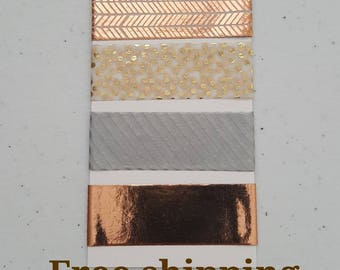 Metal tones washi tapes samples on a tag. 5 different colors. Free shipping.