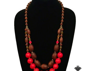 New Brown Tangerine Red Beaded Boho Long Strand Statement Necklace