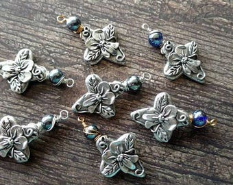 Pewter Cross Pendant with Bead