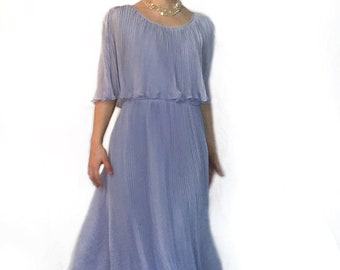 Lilac Pleated 1970s Miss Elliette Flowing Gown