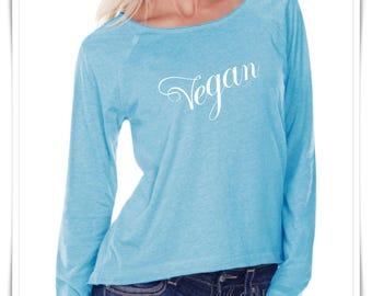 VEGAN. Women Sheer Jersey. Long Sleeve Raglan. Scoop Neck Shirt.