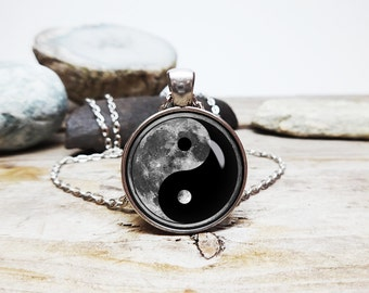 Moon Necklace Yin Yang Necklace Yin and Yang moon jewelry Eastern Philosophy jewelry meditation necklace Moon pendant Pendant on link chain