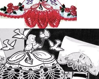 Southern Belle ? Crinoline Lady pillowcase crochet & embroidered Su131