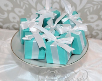 Small Favor Boxes - in Light Teal and White - Box Favors for Any Event - 1 Dozen Per Set - Designer Inspired - Aqua Turquoise Robin Egg Blue