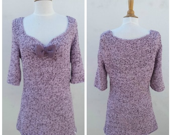Purple knit shirt, purple cotton shirt, knit cotton shirt, '50 style shirt, sweetheart neckline, shirt with bow, '50 knit shirt, summer knit