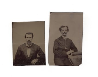 Two tintypes of the same man