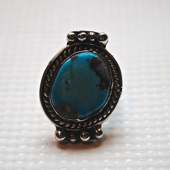 Native American Sterling Silver Turquoise Ring Sz 5.5 #4183