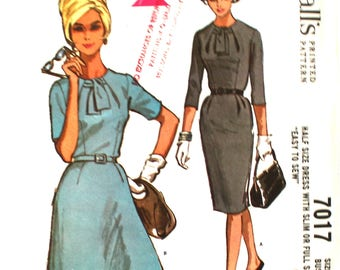 UNCUT 1960's Dress with Interesting Collar Bust 37 McCalls 7017 Vintage Sewing Pattern