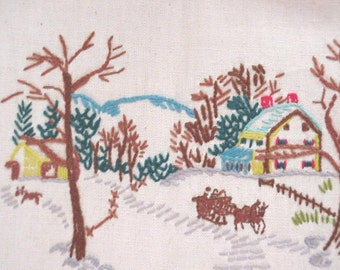 Vintage Crewel Embroidery, Winter Stitchery Scene, Woodland Snow Sleigh Ride on Linen Unframed itsyourcountry