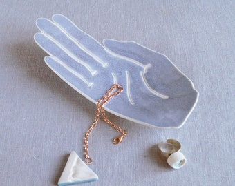 PALM ring dish, life size blue grey