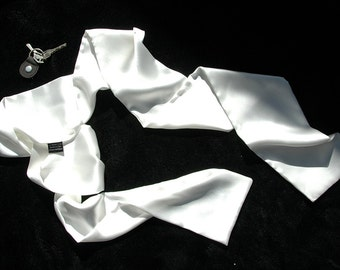 Motorcycle Scarf - Mens White Silk Evening Scarf -  Aviator Scarf - Tuxedo Scarf - Opera - MADE TO ORDER -Double Layer Silk scarf - 2PLY