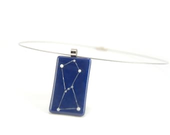 Orion necklace, glow in the dark constellation, deep blue and phosphorescent white fused glass, astronomical jewelry, astrology gift for her