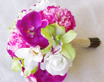Silk Wedding Bouquet Hot Pink Peonies and Green Cymbidiums Natural Touch Flowers Bridal Bouquet