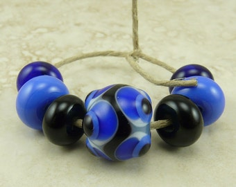 Bumpy Blue Dots - SRA Lampwork Spacer Beads with One Focal - Periwinkle Royal Navy Transparent Opaque - I ship Internationally