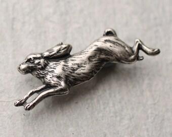 Rabbit Brooch, Silver Rabbit Brooch, Hare Pin, Animal Jewelry, Rabbit Gift