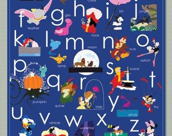 Disney Alphabet Toddler poster decor you pick your favorite color