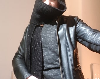 Black Knitted Scarf with Hood and Pockets