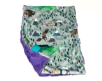 The Boreal Mountains Baby Girl MINKY Lovey Blanket, MINI Minky Baby Blanket, Taggie Blanket, Purple Woodland Bears Lovey Blanket, Ready Ship