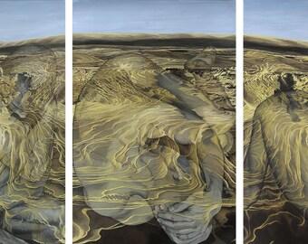 Illusion, Separation [Triptych] - 3 x Ltd Ed. Giclée Art Prints on Canvas by Jane Nicol