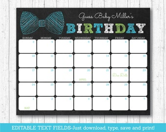 Bow Tie Chalkboard Baby Due Date Calendar / Bow Tie Baby Shower / Birthday Predictions / Guessing Game / INSTANT DOWNLOAD Editable PDF A202