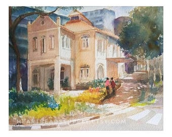 Street scene, Singapore, traditional,wallart, original Watercolor Painting id170820, 8 by 10, 8x10, not a print, landscape
