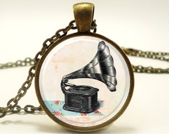 Phonograph Necklace, Antique Vintage Style Music Player Charm (0585B1IN)