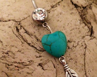 Gypsy Soul Belly Ring Turquoise Heart Belly Ring Feather Belly Ring Turquoise Heart and Feather heart and feather naval ring western boho