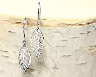 Leaf Dangle Earrings, Silver Earrings, Leaf Earrings, Leaf Jewelry