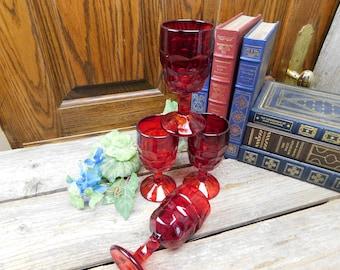 Set of 4 Vintage Ruby Red Georgian Pedestal Juice Glasses